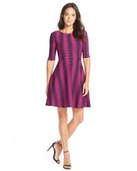 Donna Morgan | Multicolor Jacquard Knit Fit & Flare Dress | Lyst