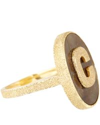 Carolina Bucci | Metallic Gold And Labradorite Sparkle C Initial Ring | Lyst