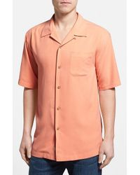 Tommy Bahama | Orange 'catalina Twill' Original Fit Silk Camp Shirt for Men | Lyst