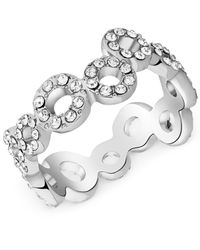 T Tahari | Metallic Silver-tone Crystal Squiggle Circle Ring | Lyst
