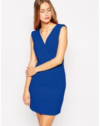 Mango | Blue V Neck Bodycon Textured Dress | Lyst