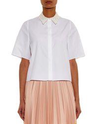 JOSEPH - White Brad Lace-Collar Cotton-Poplin Shirt - Lyst