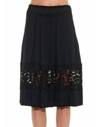 Lanvin - Black Lace-trim Pleated Skirt - Lyst