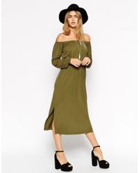 ASOS - Natural Off Shoulder Waisted Column Dress With Splits - Lyst