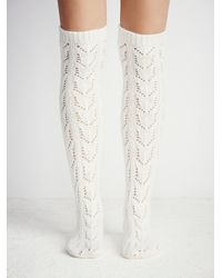 Free People - Natural Womens Wonderland Pointelle Over The Knee Sock - Lyst