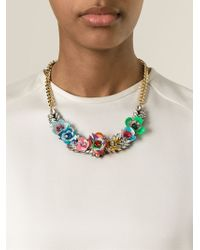 Shourouk | Metallic 'flower Multi' Necklace | Lyst