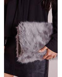 Missguided - Gray Faux Fur Clutch Grey - Lyst