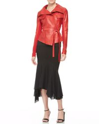 Donna Karan - Red Belted Doublecollar Leather Jacket - Lyst