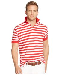 Polo Ralph Lauren - Red Classic-fit Striped Mesh Polo for Men - Lyst