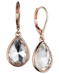 Nine West | Pink Faceted Teardrop Earrings | Lyst