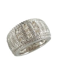 Judith Ripka | Metallic Diamond And Crosshatched Sterling Silver Ring | Lyst