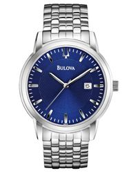 Bulova | Blue Men's Stainless Steel Bracelet Watch 40mm 96b197 for Men | Lyst