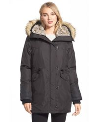 Vince Camuto | Black Parka With Faux Fur Trim | Lyst