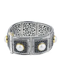 Konstantino - White Pave Spinel & Pearl Bracelet W/18k - Lyst