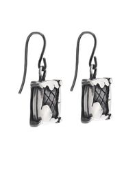 Bottega Veneta - Metallic Intrecciato Oxidised Silver Drop Earrings - Lyst
