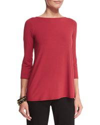 Eileen Fisher - Red 3/4-sleeve Lightweight Jersey Top - Lyst