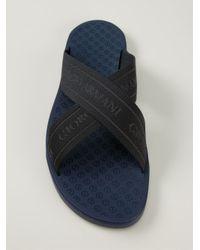Giorgio Armani | Black Logo Crossed Sandals for Men | Lyst