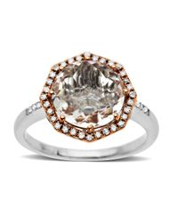 Lord & Taylor | Pink White Quartz And Diamond Ring In Sterling Silver With 14k Rose Gold | Lyst