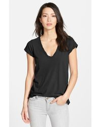 James Perse | Black High Gauge Jersey Deep V Tee | Lyst