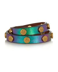 Tory Burch - Green Studded Holographic Leather Wrap Bracelet - Lyst