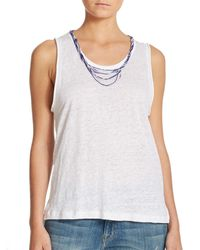 Generation Love | White Beaded Linen Muscle Tee | Lyst