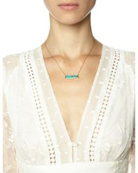 Laura Lee | Blue Gold Turquoise Slab Necklace | Lyst