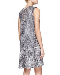 Rebecca Taylor - Black White Noise Printed Layered Silk Dress - Lyst