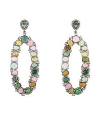 Bavna | Sterling Silver Front Facing Oval Multicolored Tourmaline Earrings With Champagne | Lyst