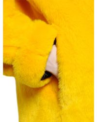 De'Hart - Yellow Two Tone Faux Fur Coat - Lyst