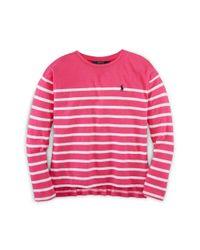 Ralph Lauren | Pink Striped Cotton Long-sleeve Tee | Lyst