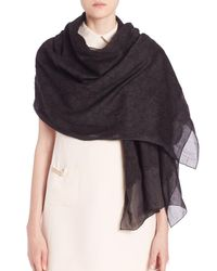 Valentino - Black Lace Jacquard Cashmere and Silk Scarf - Lyst