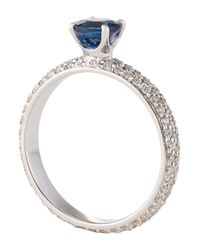 Roberto Coin - Metallic Blue Sapphire Solitaire Ring With Pave Diamond Band - Lyst
