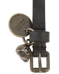 Alexander McQueen - Black Grained Leather Wrap Bracelet for Men - Lyst