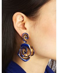 Oscar de la Renta - Pink Handpainted Rose Earrings - Lyst