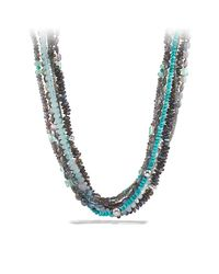 David Yurman | Metallic Dy Signature Necklace With Labradorites And Turquoises | Lyst