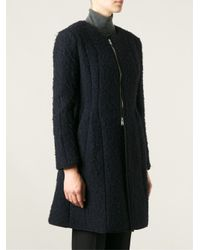 Hache - Blue Flared Textured Overcoat - Lyst