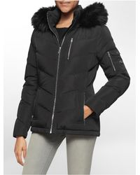 Calvin Klein | Black White Label Chevron Stitched Faux Fur Hood Puffer Coat | Lyst