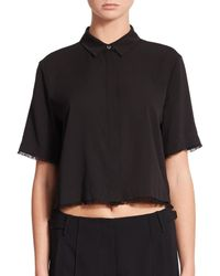 T By Alexander Wang | Black Cropped Silk-stretch Blouse | Lyst