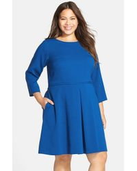 Eliza J | Blue Pleat Front Fit & Flare Dress | Lyst