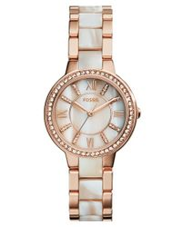 Fossil | Metallic 'Virginia' Resin Link Crystal Bezel Bracelet Watch | Lyst