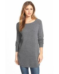 Halogen - Gray Shirttail Wool & Cashmere Boatneck Tunic - Lyst