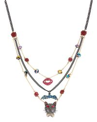 Betsey Johnson | Multicolor Pave Mixed Critter Illusion Necklace | Lyst