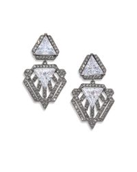 Adriana Orsini | Metallic Deco Pave Triangle Small Drop Earrings/gunmetal-tone | Lyst