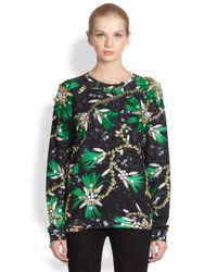 Mary Katrantzou | Green Embroidered Roush Print Sweatshirt | Lyst