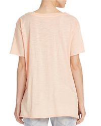 Free People | Yellow Cotton V-neck Tee | Lyst