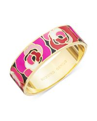 kate spade new york - Purple New York Goldtone Enamel Flower Budding Genius Idiom Bangle Bracelet - Lyst