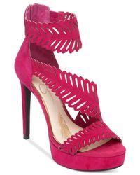 Jessica Simpson | Pink Azure Open Toe Suede Platform Heel | Lyst