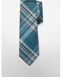 Calvin Klein | Blue White Label Steel University Plaid Tie for Men | Lyst