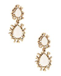 Oscar de la Renta | White Ivory Branch Cabochon Clip Earrings | Lyst