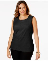 Calvin Klein | Black Plus Size Sleeveless Faux-suede Paneled Top | Lyst